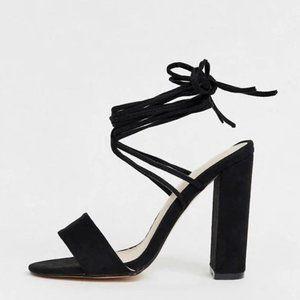 ASOS Black Chunky Tie Up Heels Sz 5 women